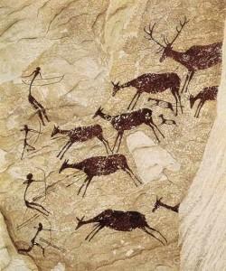 охота на оленей наскальнгый рисунок